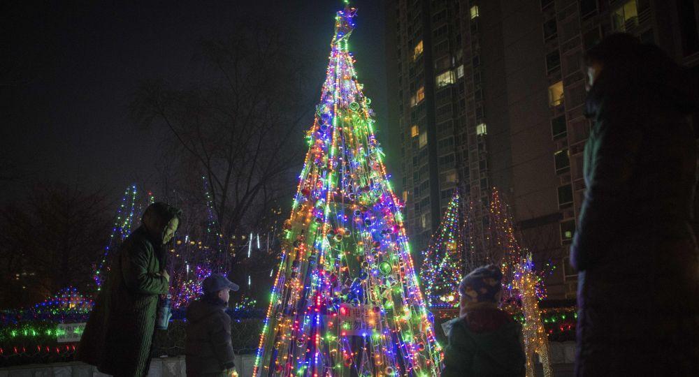 Cristianos Decoran La Iglesia Para Navidad