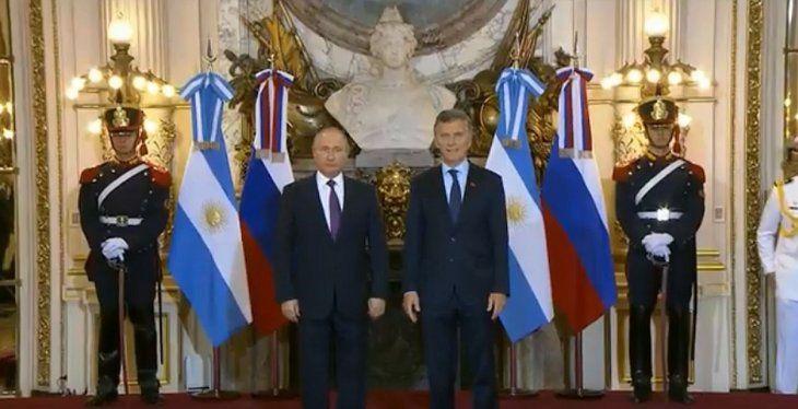 Macri y Putin brindan una declaración en Casa Rosada
