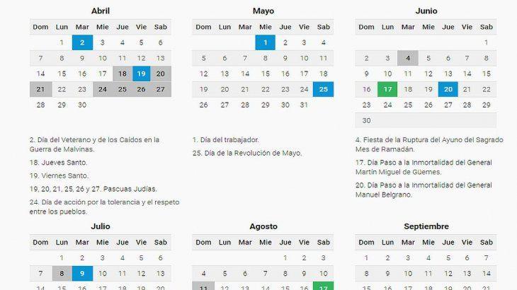 Calendario Agosto 2019 Con Feriados.El 2019 Tendra 19 Feriados Y Tres Puentes Feriados 2019