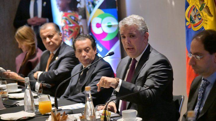 El presidente de Colombia, Iván Duque, mantuvo un desayuno con empresarios argentinos.