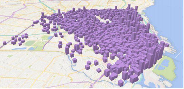 <p>En el siguiente mapa 3D la altura de cada barra representa el precio del alquiler de la unidad habitacional.</p> <p><br /></p>