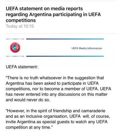 <p>El comunicado de la UEFA.</p>