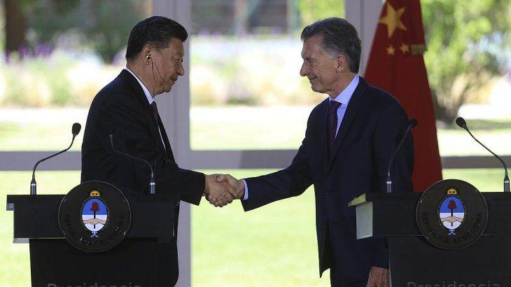 Mauricio Macri junto al presidente de China