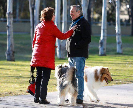 El precandidato Alberto Fernández sacó a pasear a su perro Dylan, antes de ir a votar.