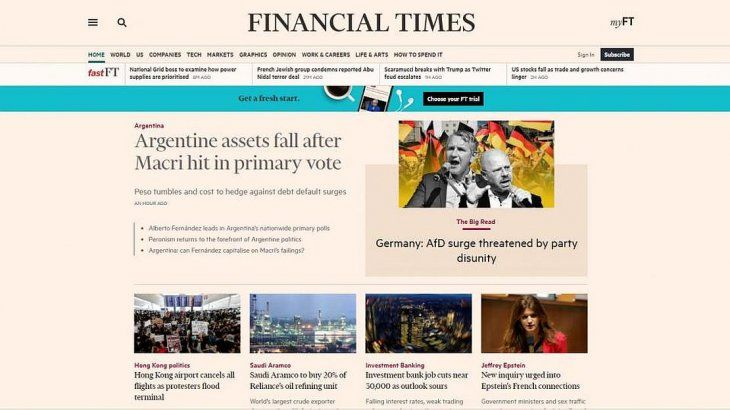 Los medios internacionales se hicieron eco de los resultados de las PASO y su impacto en el escenario económico.