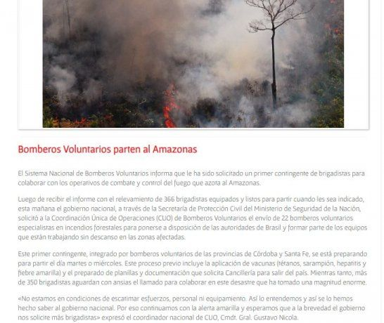 El comunicado de Bomberos Voluntarios.