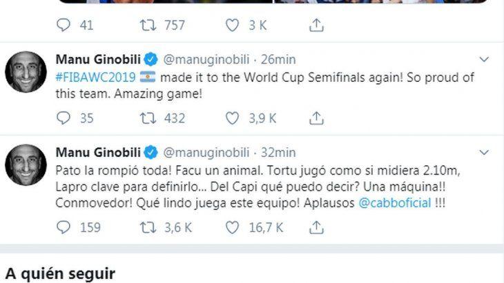 Captura del Twitter de Ginóbili.