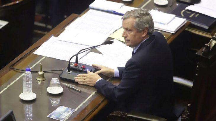 <p>El presidente de la Cámara de Diputados, Emilio Monzó, en la sesión de este jueves.</p>