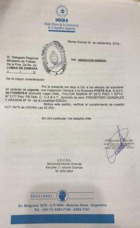 Una de las denuncias presentadas por la UOCRA, con fecha del 20 de septiembre pasado.