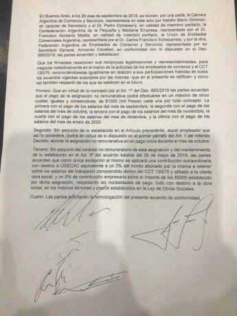 El documento firmado por Comercio.
