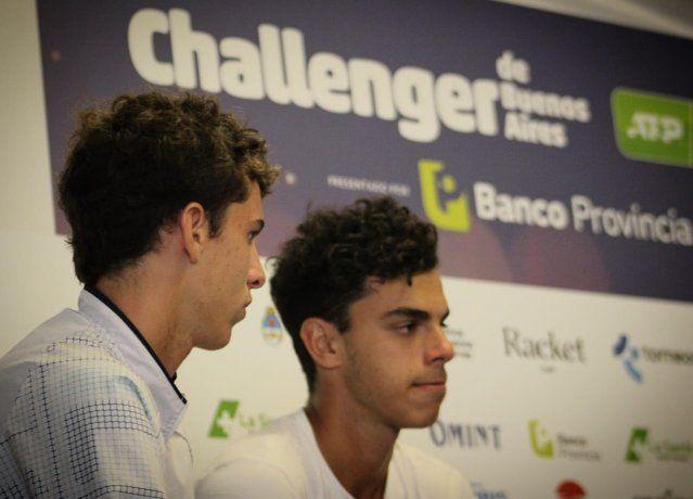<p>Juan Manuel y Francisco Cerúndolo, durante la entrevista con Ámbito en el Challenger de Buenos Aires.</p>