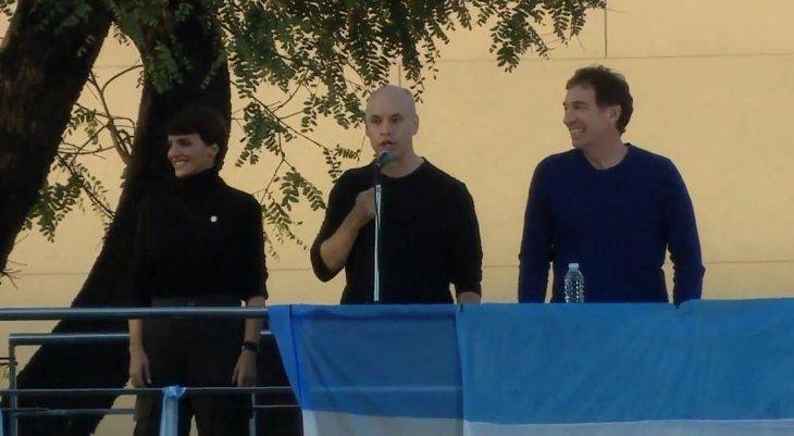 <p>B&aacute;rbara Diez, Horacio Rodr&iacute;guez Larreta y Diego Santilli.&nbsp;</p>