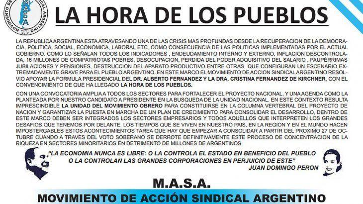 <p>Luego del reencuentro entre Omar Viviani y Hugo Moyano, el MASA respaldó públicamente a Alberto Fernández y reclamó la unidad cegetista.</p>