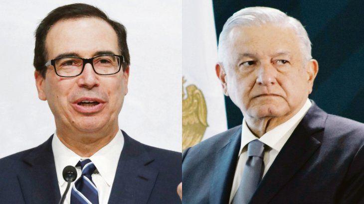 Steve Mnuchin y Andrés Manuel López Obrador.