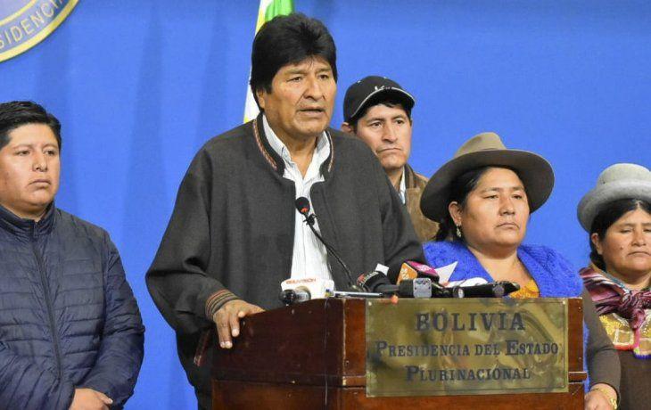 Evo Morales al anunciar su renuncia.