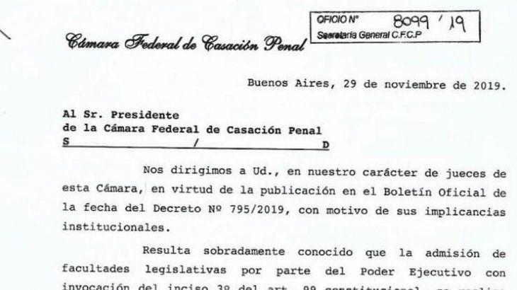 La nota enviada por los jueces al actual titular de Casación Penal