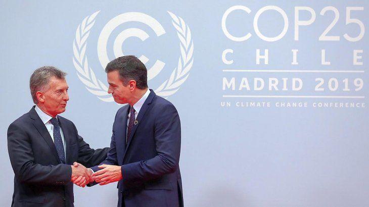 Mauricio Macri y Pedro Sánchez en la COP25 de Madrid.