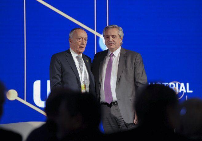 El presidente Alberto Fernández, y el titular de la Unión Industrial Argentina (UIA), Miguel Acevedo.