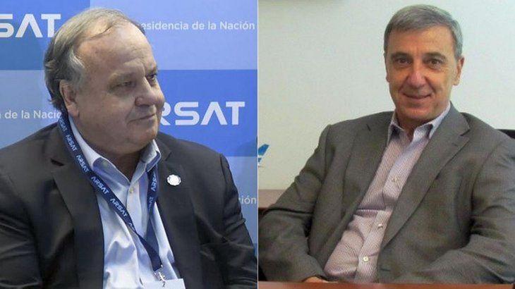 Raúl Martínez,el atrincherado de Arsat, y Juan Uribe, el ex gerente que pide $418 millones por haber trabajado para Aerolíneas.