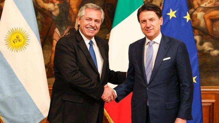 El presidente junto al premier italianoGiuseppe Conte.