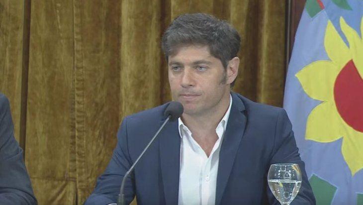 Axel Kicillof brindó una conferencia de prensa en el Salón Dorado de la Casa de Gobierno de Buenos Aires.
