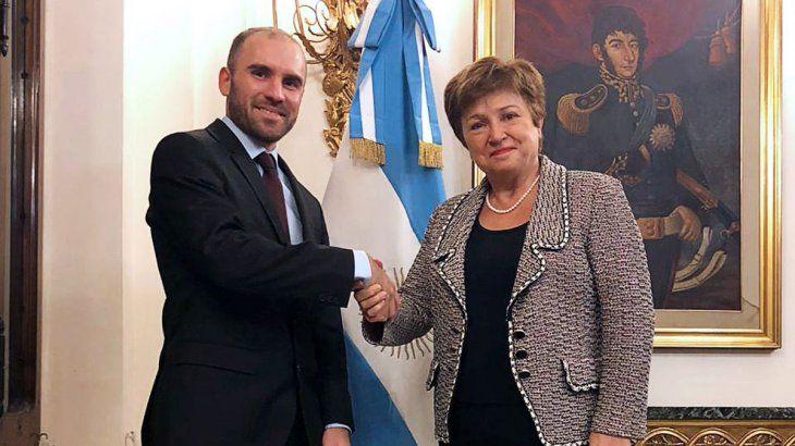 Martín Guzmán y Kristalina Georgieva en su último encuentro en Roma.