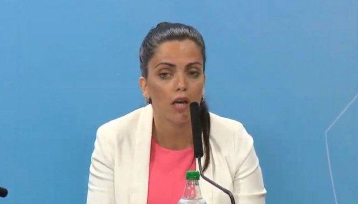 Luana Volnovich durante la conferencia en Casa Rosada.