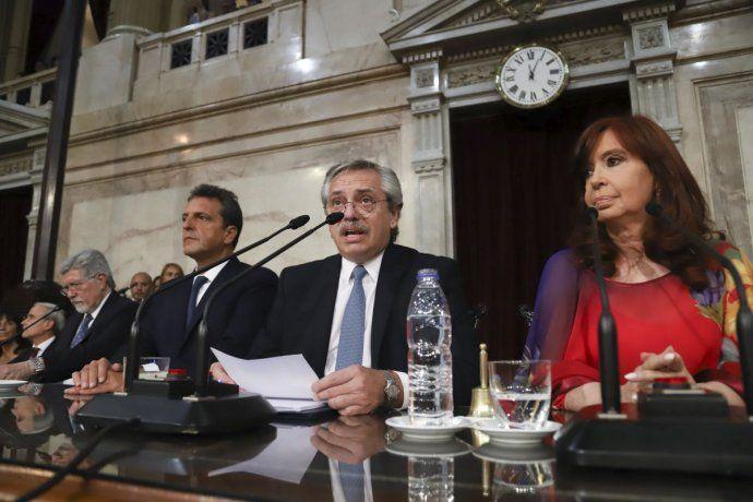 El presiente Alberto Fernandez al abrir la 138 Asamblea Legislativa.