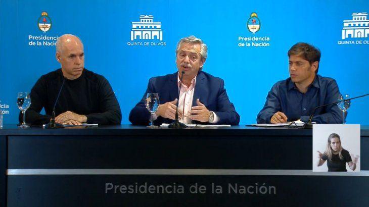 Alberto Fernández, Axel Kicillof y Horacio Rodríguez Larreta.