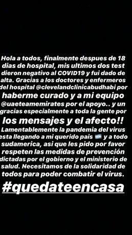 El mensaje de Maximiliano Richeze en el que cuenta que fue dado de alta por el coronavirus y agradeció a todos los que lo atendieron.