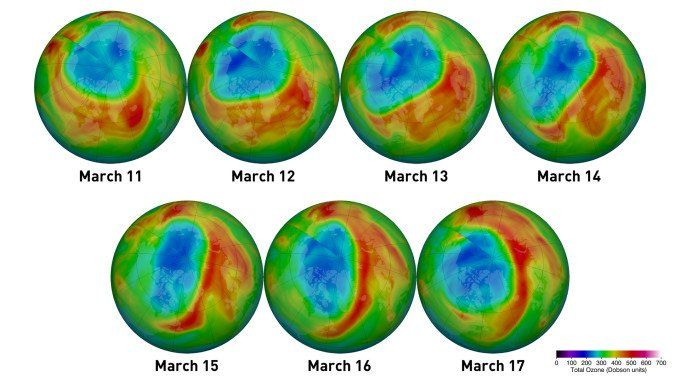 Así se ve el agujero en la capa de ozono ubicado en el Polo Norte.