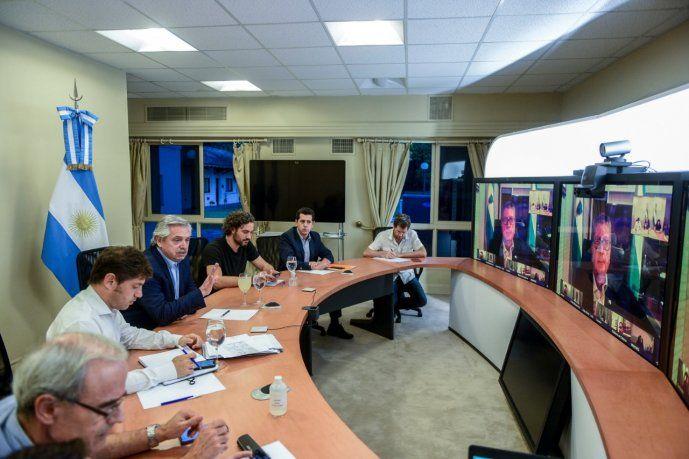 Alberto Fernández durante la videoconferencia con gobernadores (Imagen de archivo).
