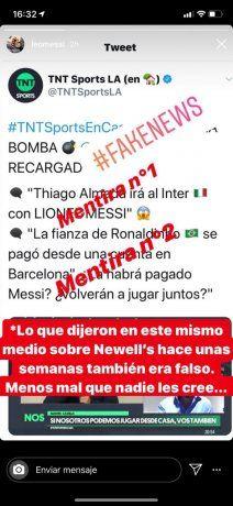Historias de Instagram de Lionel Messi.