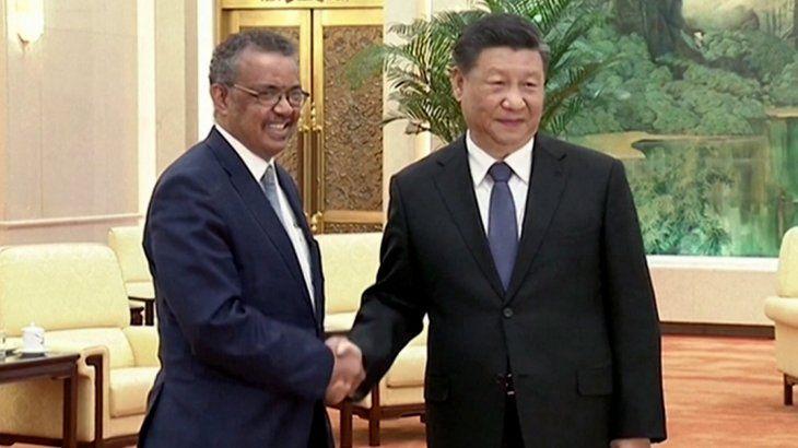 Tedros Adhanom Ghebreyesus, director de la OMS, y Xin Xin Ping, presidente de China, ya se reunieron en otras ocasiones, cuando la pandemia recién empezaba.