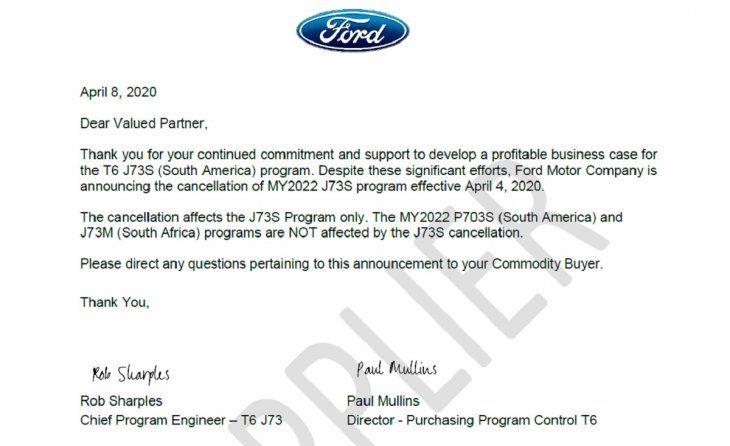 La nota en la que se informa sobre la cancelación del proyecto lleva las firmas del jefe de ingeniería de la marca