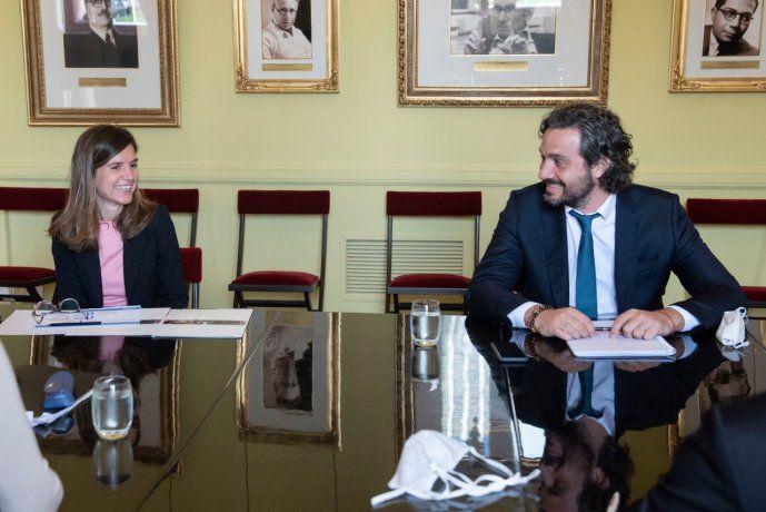 El jefe de Gabinete, Santiago Cafiero encabezó una reunión del Gabinete Económico. Participó la flamante titular de ANSES, María Fernanda Raverta.