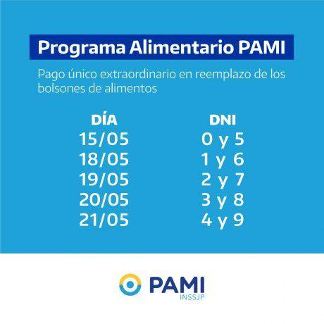 Cronograma del pago del bono difundido por PAMI.