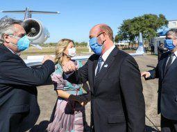 Alberto Fernándezviajó junto a la Primera Dama, Fabiola Yañez, yfue recibido en Formosa por el gobernador Gildo Insfrán