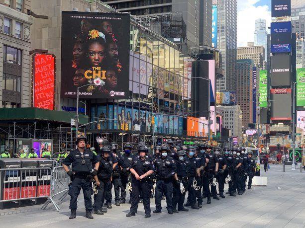 Times Square durante las manifestaciones.