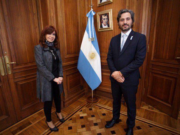 Cafiero y Cristina Fernández de Kirchner antes de su exposición ante el Senado.
