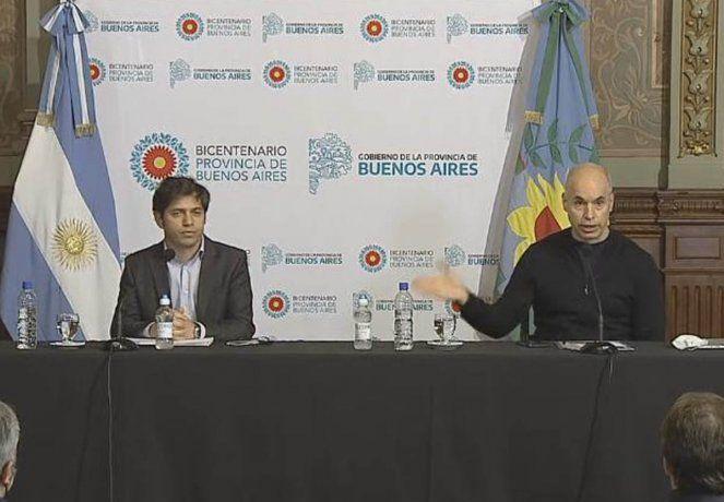 El gobernador bonaerense Axel Kicillof, y el Jefe de Gobierno porteño, Horacio Rodríguez Larreta, se reunieron el viernes para analizar la situación del AMBA.