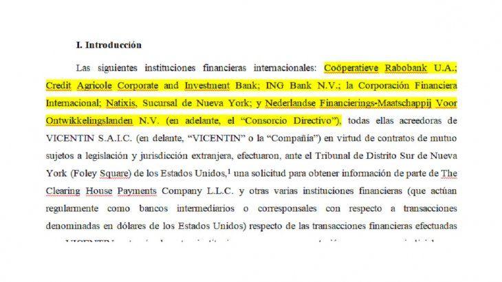 Presentanción del consorcio de acreedores externos de VIcentin antes los tribunales de Nueva York.