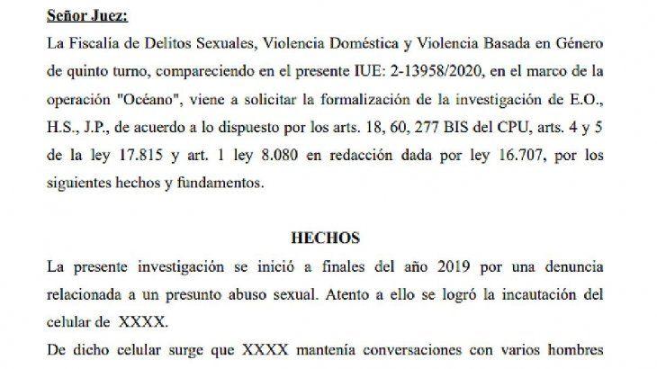 El dictamen de la fiscal de Delitos Sexuales, Darviña Viera, donde revela cómo operaba la red de prostitución y explotación sexual de adolescentes en Uruguay.