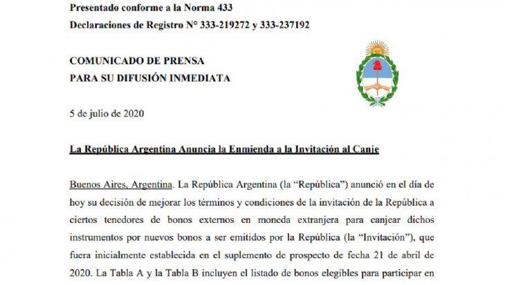 Nueva oferta argentina a bonistas: ¿cuáles son las condiciones bono por bono?