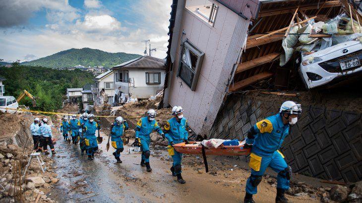 Las lluvias en Japón dejaron graves daños.