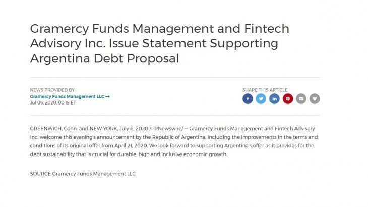 Deuda: Gramercy y Fintech Advisory apoyan la nueva oferta de la Argentina