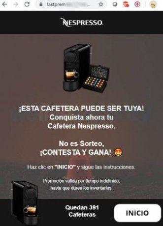 Laestafa se viralizó por WhatsApp y ofrece como premio una cafetera Nespresso.