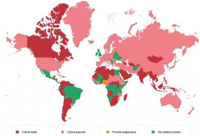 Según la página de turismo Kayak, 73 países cuentan con las fronteras cerradas.