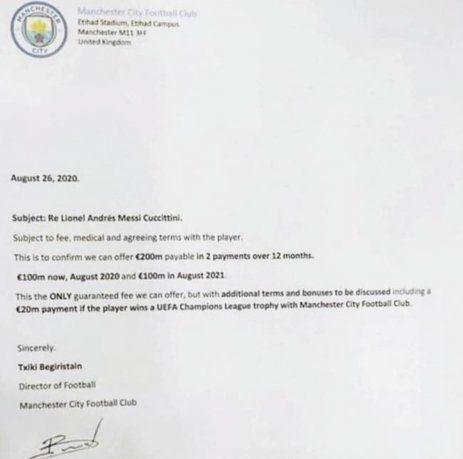 La revista suiza L'Illustre publicó la oferta que el pasado 26 de agosto le hizo llegar el Manchester City al Barcelona para contratar a Lionel Messi.