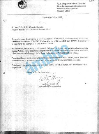 Documento Exclusivo: A pedido del fallecido juez Claudio Bonadio, en septiembre de 2005 el agregado de la DEA en la Argentina, Antonhy Greco Jr. confirmó que Julio César Pose (La Morsa) colaboraba con la Agencia Antidrogas de EEUU.